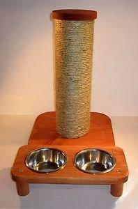 "2 bowl pet feeding station + 15"" sisal rope cat scratching post... combo set"