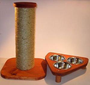 "15"" sisal rope cat scratching post + TRI 3 bowl pet feeding station....Set of 2"