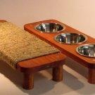 "17"" flat Sisal rope cat scratcher + 3 Stainless steel Bowl pet feeding station 3"" High SET"