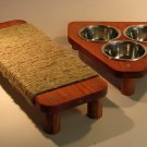 "17"" flat Sisal rope cat scratcher + TRI 3 bowl pet feeding station SET"