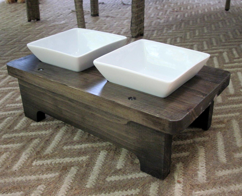 2 square Porcelain bowl pet feeding stand