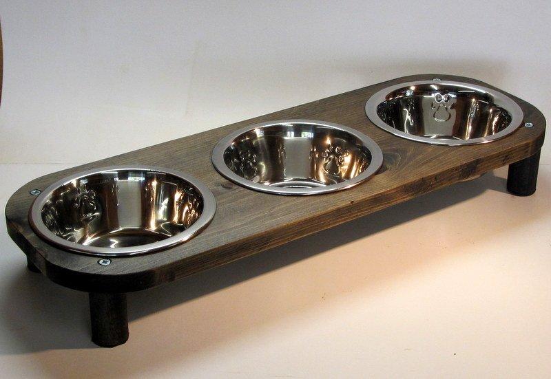 "3 Stainless steel Bowl pet feeding station 3"" 4"" or 5"" high - Ebony 2718"