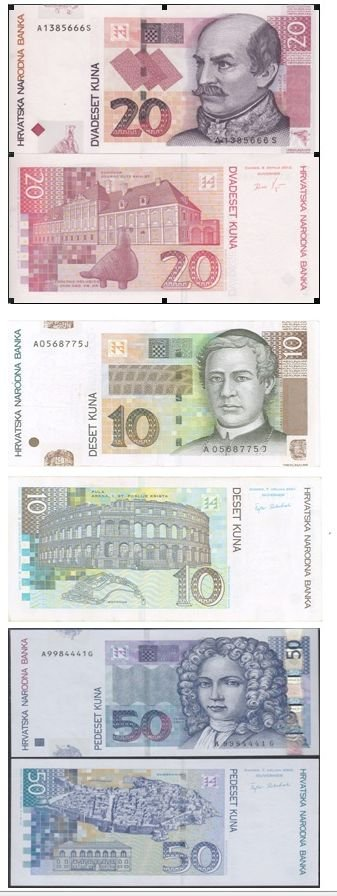 Croatian paper money 10, 20 and 50 Kuna