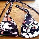 NEW WOMEN'S FLORAL 34A BIKINI TOP BROWN WHITE PINK BATHING SUIT SWIM