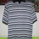 MEN'S PALM BEACH PERFORMANCE GOLF SHIRT L LARGE BLACK & WHITE STRIPED PERFECT