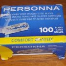 NEW PERSONNA 100 COUNT COMFORT COATED DOUBLE EDGED STEEL RAZOR BLADES