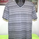 NEW MENS INC INTERNATIONAL CONCEPTS XL V-NECK BLACK / GRAY STRIPED CASUAL SHIRT