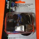 NEW MITRE 2 PACK OF WHISTLES BLACK AND SILVER