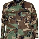 US ARMY WOODLAND CAMO BLOUSE SHIRT WITH PATCH M/S MEDIUM SHORT