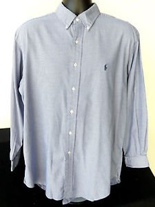 MENS RALPH LAUREN YARMOUTH LONG SLEEVE DRESS SHIRT BLUE NECK 16.5 SLEEVE 32/33