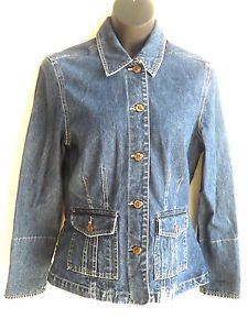 WOMEN'S CARRIBEAN JOE DENIM JACKETS S SMALL 100% COTTON JEAN COAT BLUE