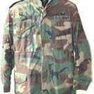 US ARMY COLD WEATHER FIELD JACKET WITH PATCHES S/L SMALL LONG WOODLAND CAMO