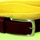 NEW Men's Club Room Woven Elastic Stretch Belt Yellow / Brown Large 38 MSRP $20