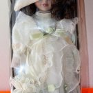 NEW VICTORIAN BEAUTY 12 INCH BISQUE PORCELAIN DOLL BROWN CURLS AND CREAM DRESS