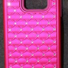 NEW STYLE4U GALAXY S6 EDGE CASE STUDDED RHINESTONE CRYSTAL BLING ARMOR CASE PINK