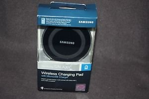 SAMSUNG GALAXY QI WIRESS CHARGING PAD BLACK CHARGER W/ MICROUSB FREE SHIPPING