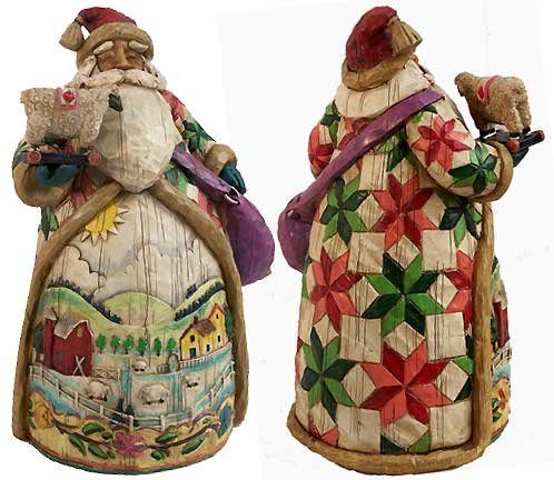 Jim Shore Enesco Santa Farm Quilt Folk Art Figurine