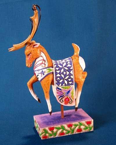 Jim Shore Folk Art Reindeer w/ Blue Quilt Animal Figurine