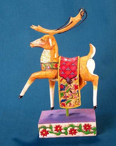 Jim Shore Heartwood Creek Reindeer w/ Red Quilt