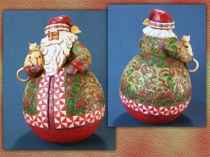 Jim Shore Roly Poly Santa Claus Holding Cat