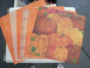 Mixed Lot of Fall Colors 12X12 scrapbook paper