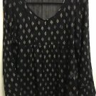 Women's small Black W Design Lucky Brand Sheer Long Sleeve Shirt