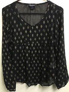 Women's small Black W Design Lucky Brand Sheer Long Sleeve Shirt
