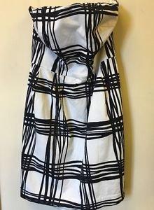 Women's Size 12 Express White Black Plaid Tube Dress