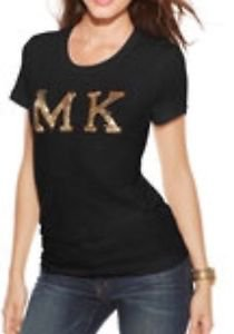 NWT Michael Kors Women's Large Black/gold Sequin Patch Short Sleeve T Shirt $97