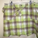 Women's Size 20 Lane Bryant Green Brown White Plaid Skort