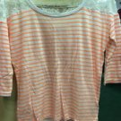 Women's Express 3/4 Sleeve Orange And White Shirt. Size Extra Small