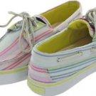 Women's SPERRY 9316142 Bahama Lime Green Stripe 2eye Boat Shoes Size 9