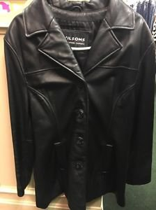 Men's Wilson Leather Experts Black Jacket. Size Large