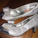 Michael Kors Size 4 Metallic Silver Glitter Sparkles Heels Shoes W Bow