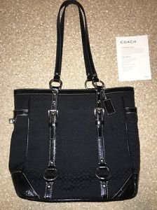 Coach F12344 Black Jacquard Signature Gallery Tote Shoulder Bag Purse NWT $328
