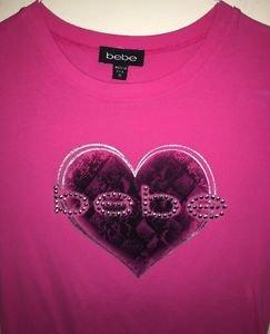 Bebe Sz Medium Women's Short Sleeve Shirt Pink W Bling