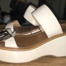 Women's Express Size 9 Platform Wedge Sandals Tan Patent Leather NWT $49.90