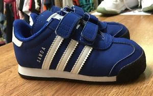 Toddler Size 9 Blue White Adidas Samoa Velcro Sneakers Ortholite