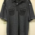 Men's Xl Grey White Striped PD&C Short Sleeve Polo Shirt