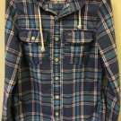 Mens Hollister Blue Plaid Spring Button-Up Hoodie Jacket Size Small