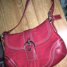 Coach F10926 Red Jacquard Signature Leather Perforated Stitch Shoulder Bag NWOT