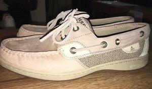 Sperry Top-Sider Women's Bluefish 2 Eye Linen Oat 9276619 Boat Shoes Size 8*NICE