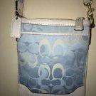 Coach Hampton Blue Optic Signature Crossbody/messenger Bag Purse Blue White Nwot