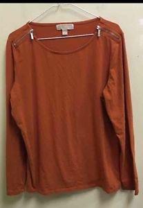 Women's Michael Kors XL Orange Long Sleeve Zip Neck Shirt RP$69
