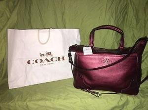 NWT Coach F34040 Mickie Sachel Metallic Cherry Grain Leather Purse RP$450
