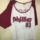 Victoria's Secret Pink Lg Philadelphia Phillies Off Shoulder Shirt Maroon White