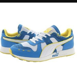 Puma RA-100 Men's Sz 10.5 White/French Blue/yellow #35748801 Sneakers