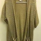 Women's Medium Tan Gold Michael Kors 3/4 Sleeve Open Cardigan Knit Blouse