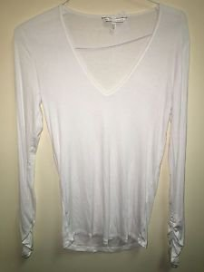 Victoria's Secret Angels Collection White V Neck Long Sleeve Shirt Medium