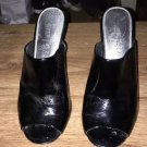 White House Black Market Size 8 Peep Toe Mule  Heels Black Patent Leather